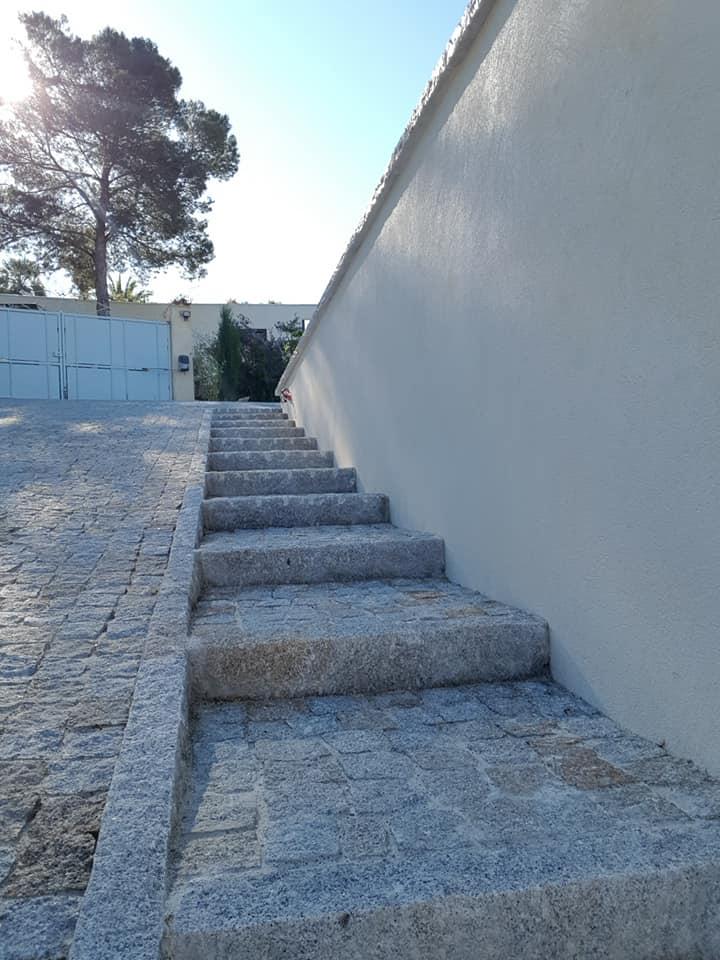 escalier en pavés granit mixte bordures granit mixte